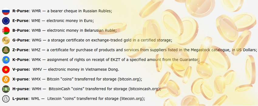 Types of WebMoney Purses and Applications